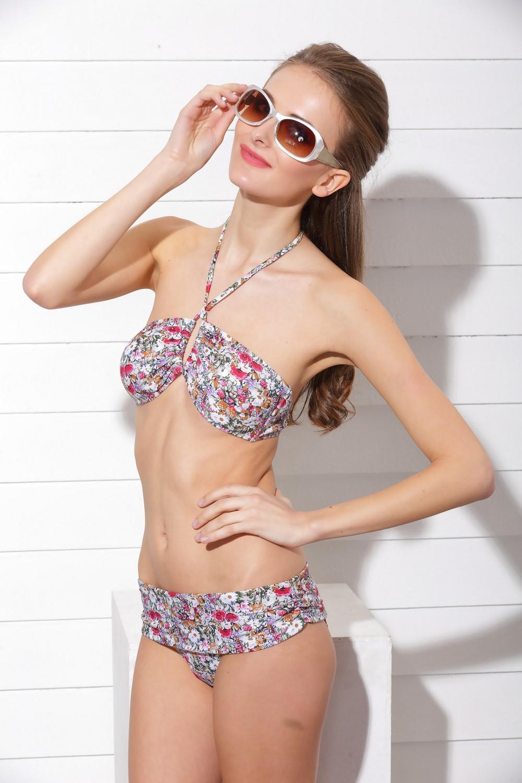 Secret Garden Floral Bandeau Bikini Top & Bikini Bottom