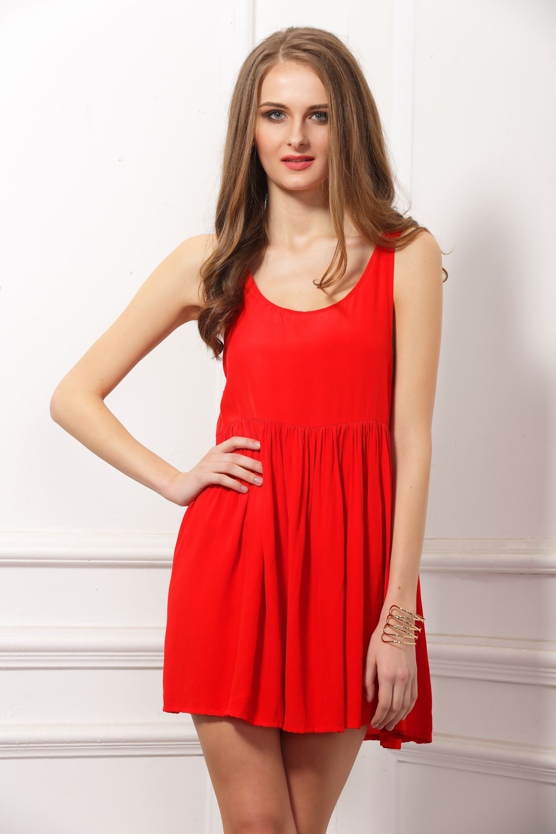Bright Red Low Armhole Dress